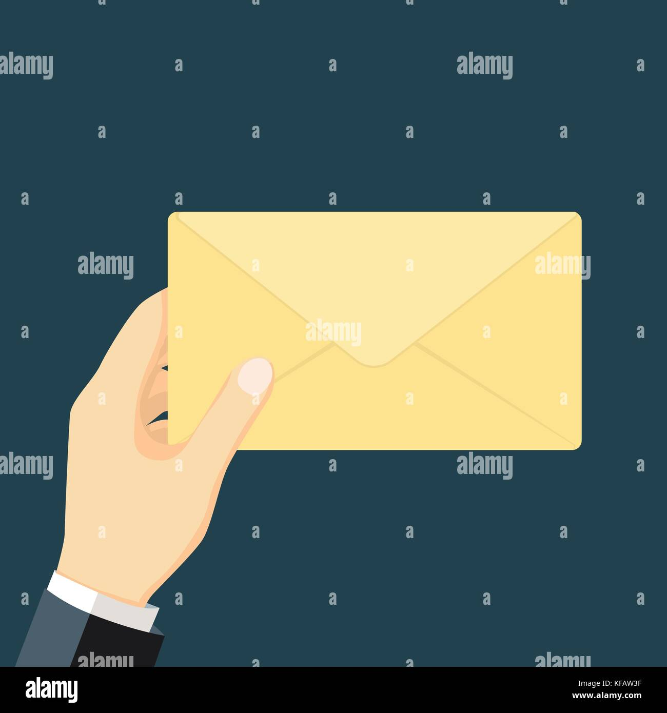 Businessman in formal suit holding an envelope with a letter for business concept. Vector flat design illustration. - Stock Vector