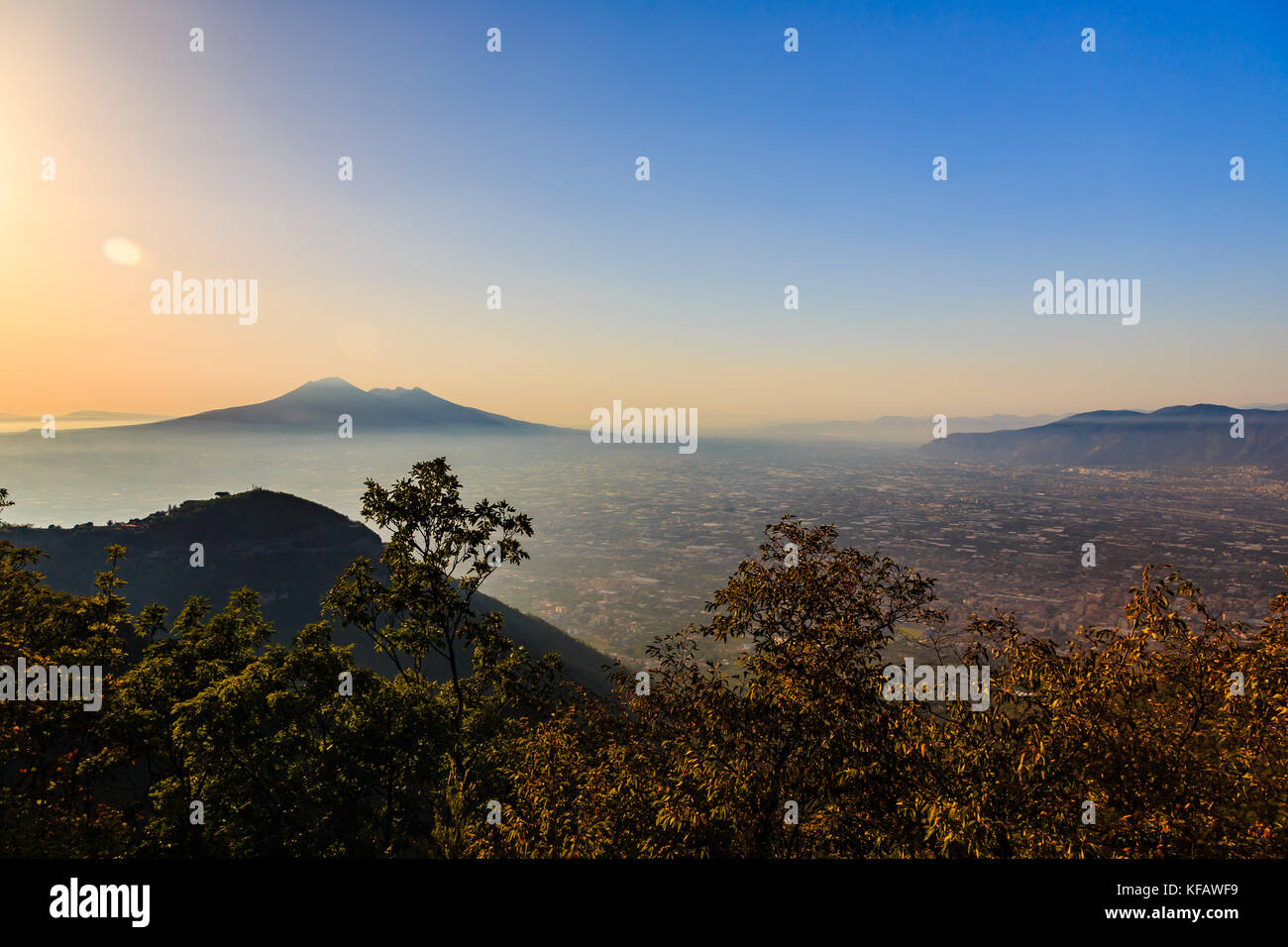 View of Mount Vesuvius from regional park of the Lattari Mountains, Italy - Stock Image