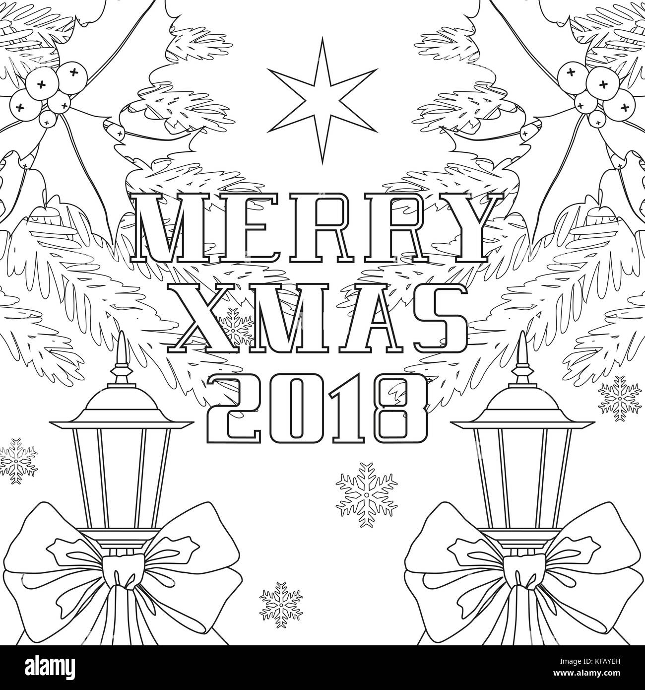 Merry Xmas 2018 poster with ribbon bow, street lantern, christmas tree branches and holly berries. - Stock Image