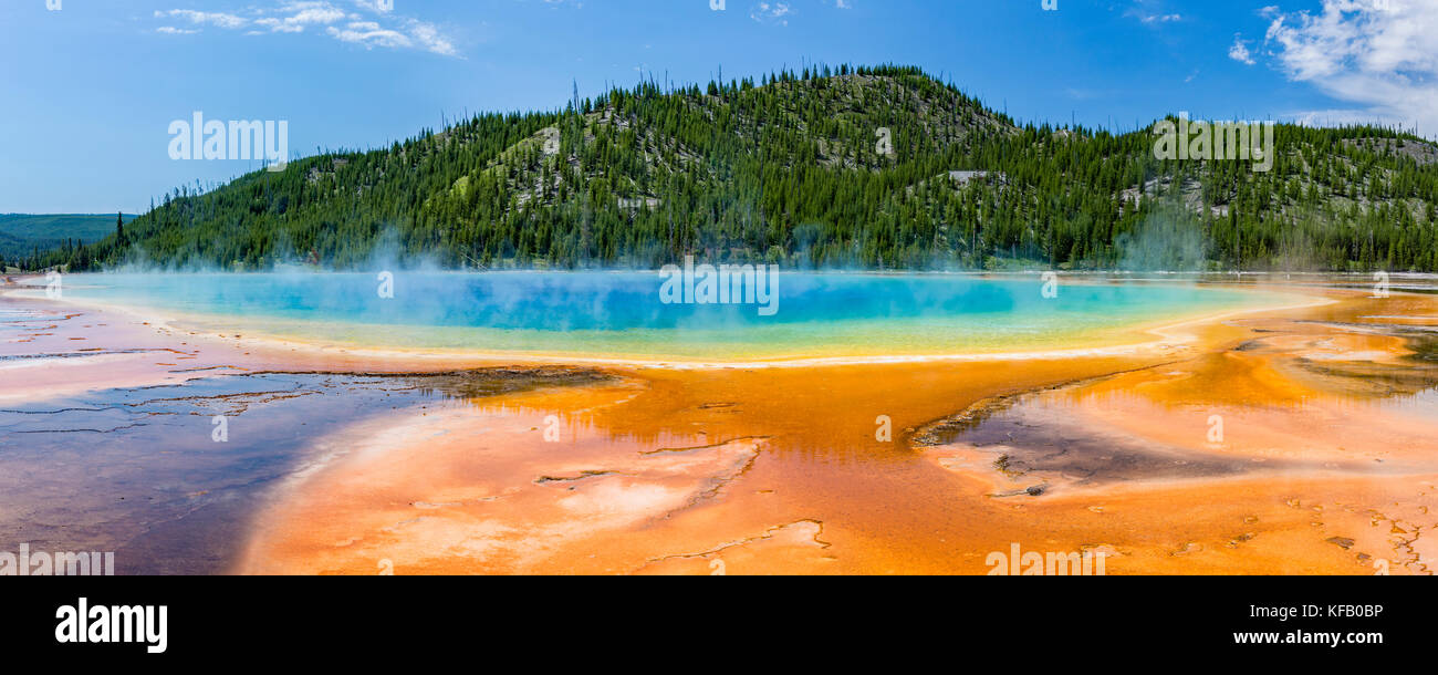 Terraces fan out from vivid colors of the Grand Prismatic Spring in Yellowstone National Park, Wyoming. - Stock Image