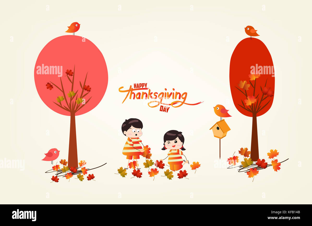 Happy Thanksgiving Day Funny Kids Of A Forest In Autumn With Leaves Stock Photo Alamy