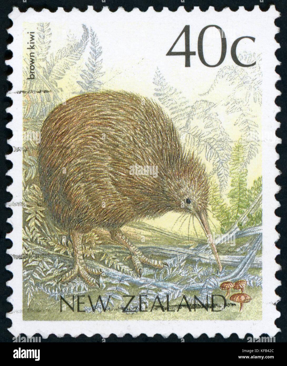 Postage stamp (New Zealand - Brown Kiwi) - Stock Image