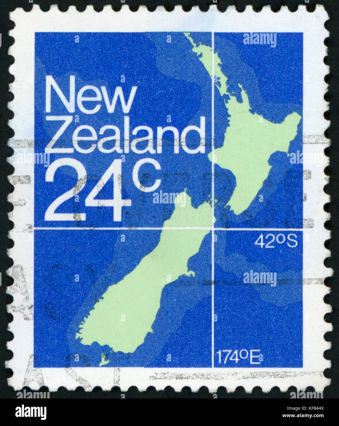 NEW ZEALAND - CIRCA 1982: A stamp printed in New Zealand shows Map of New Zealand, circa 1982. - Stock Image