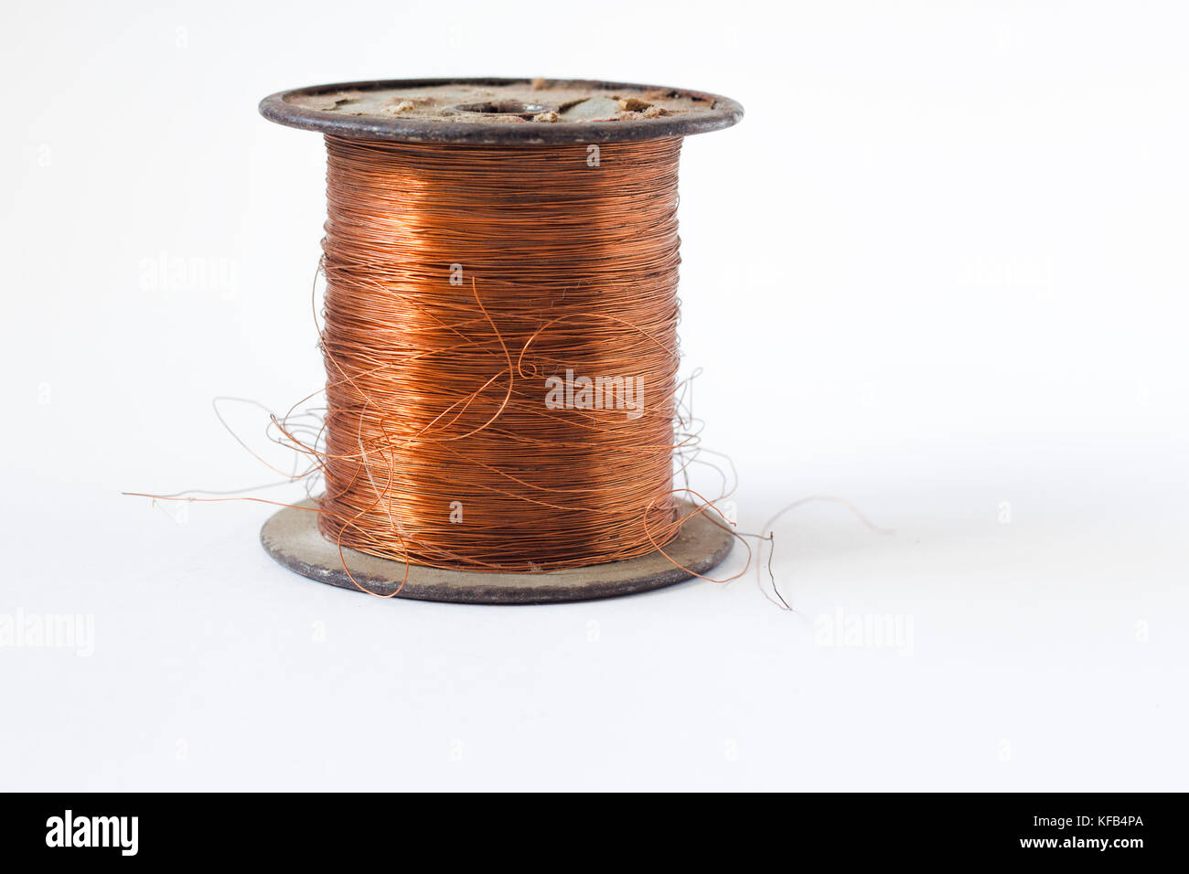 Copper wire on spool, isolated on white backgrounds, with clipping ...
