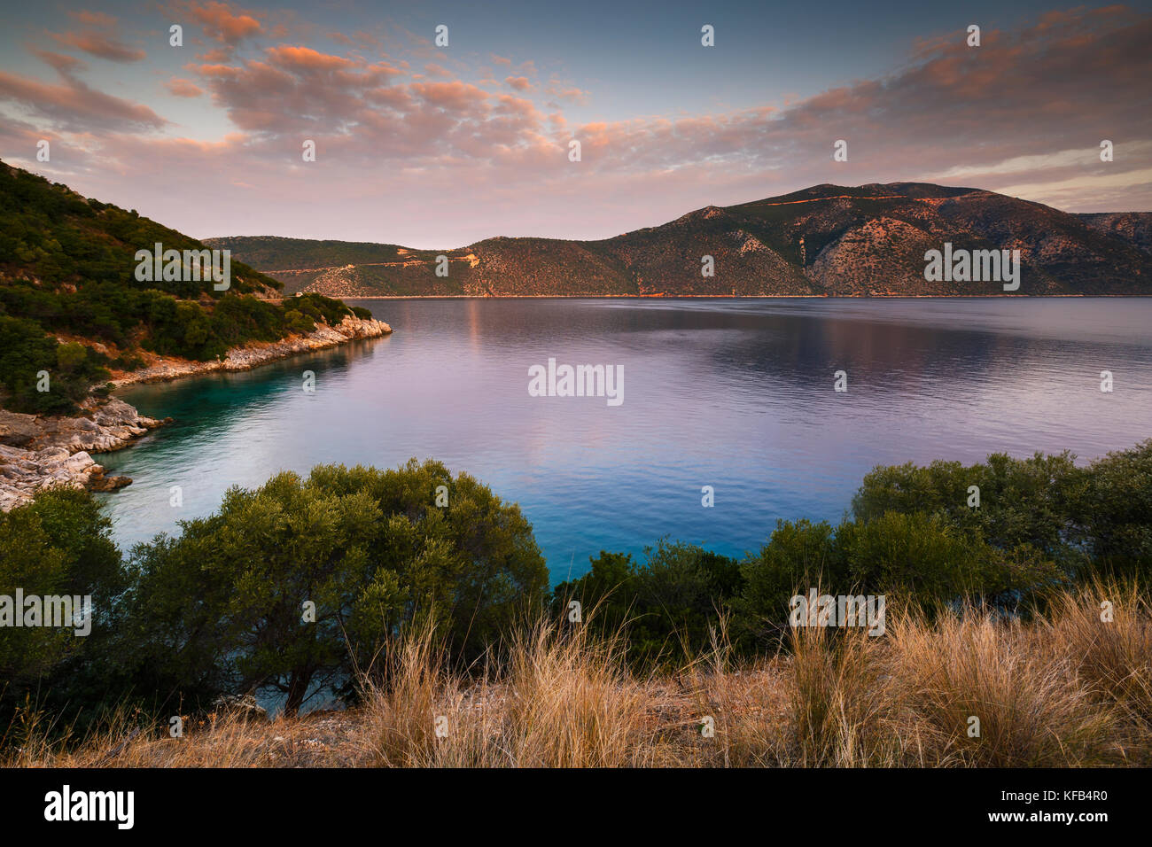 Morning view of Molos Gulf in Ithaca island, Greece. - Stock Image