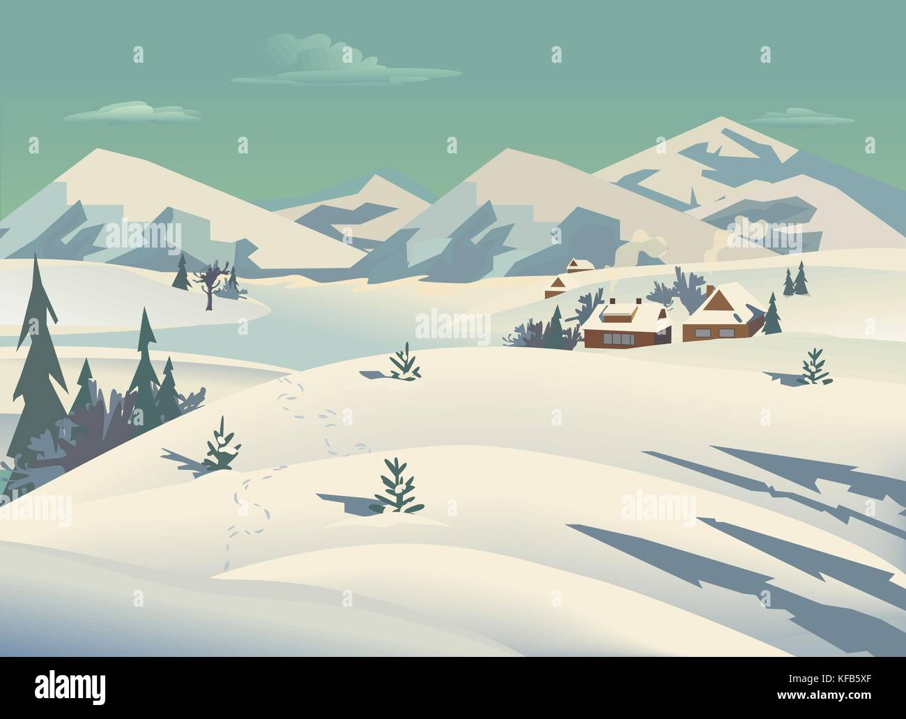 Winter nature landscape. Mountain river in snowy glacier valley. Houses on bank under snow. Lake view among hills, - Stock Vector