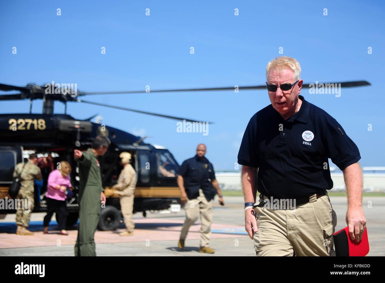 Federal Emergency Management Agency (FEMA) Federal Coordinating Officer Michael Byrne arrives at the Isla Grande - Stock Image