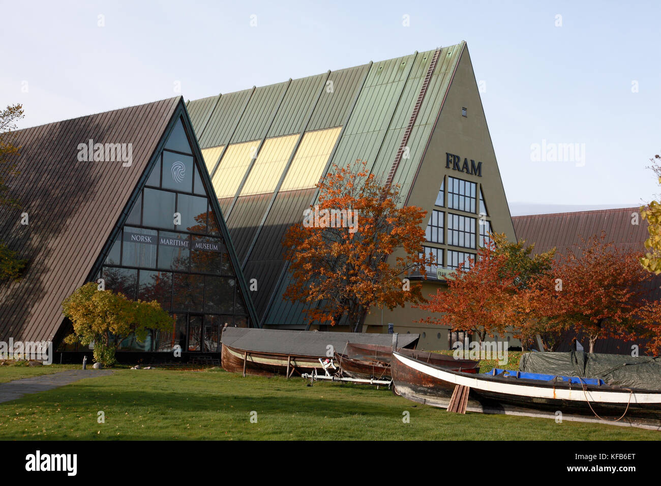 The Norwegian Maritime Museum and the Fram museum named after the ship used by Norwegian Arctic and Antarctic explorers - Stock Image