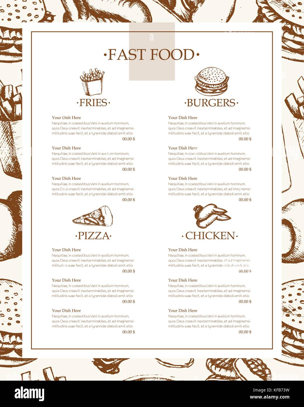 Fast food - color vector hand drawn vintage template menu with copy space. Realistic chicken wing, nugget, cheeseburger, - Stock Vector
