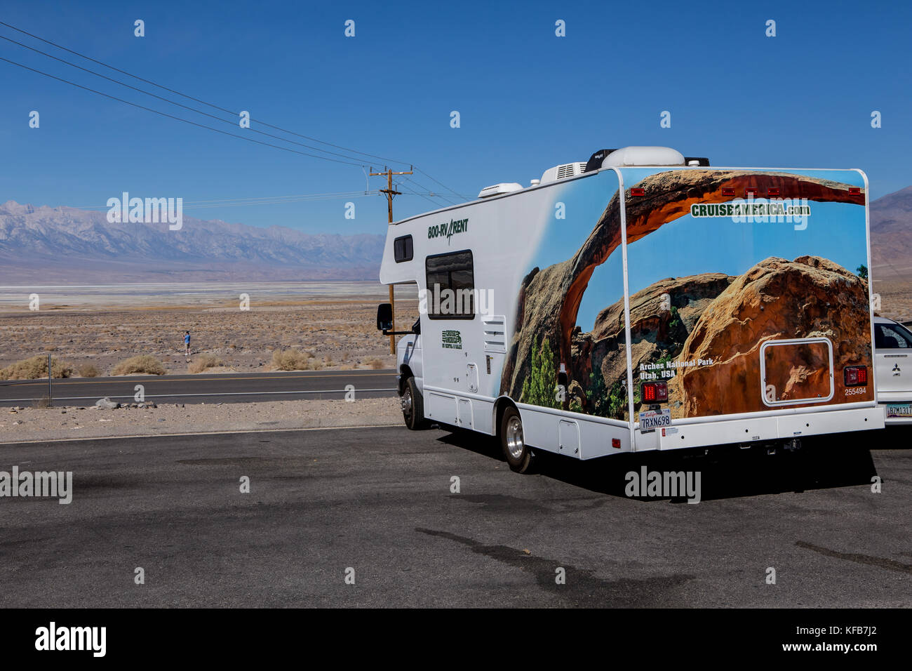 A rented RV motorhome at Owens lake on highway 190 Inyo county California USA - Stock Image
