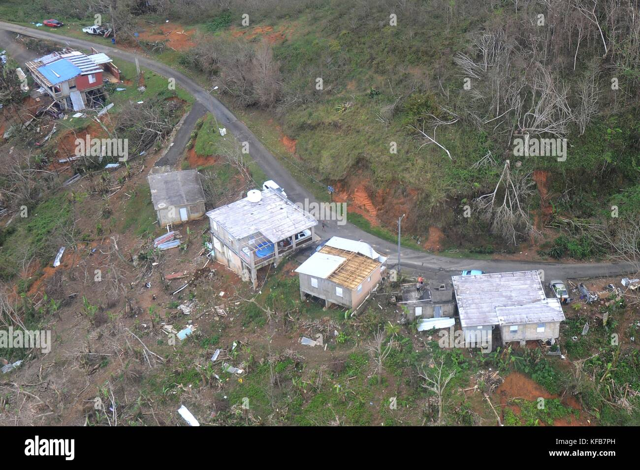 Aerial view of the damage in the aftermath of Hurricane Maria October 14, 2017 in Jayuya, Puerto Rico.   (photo - Stock Image