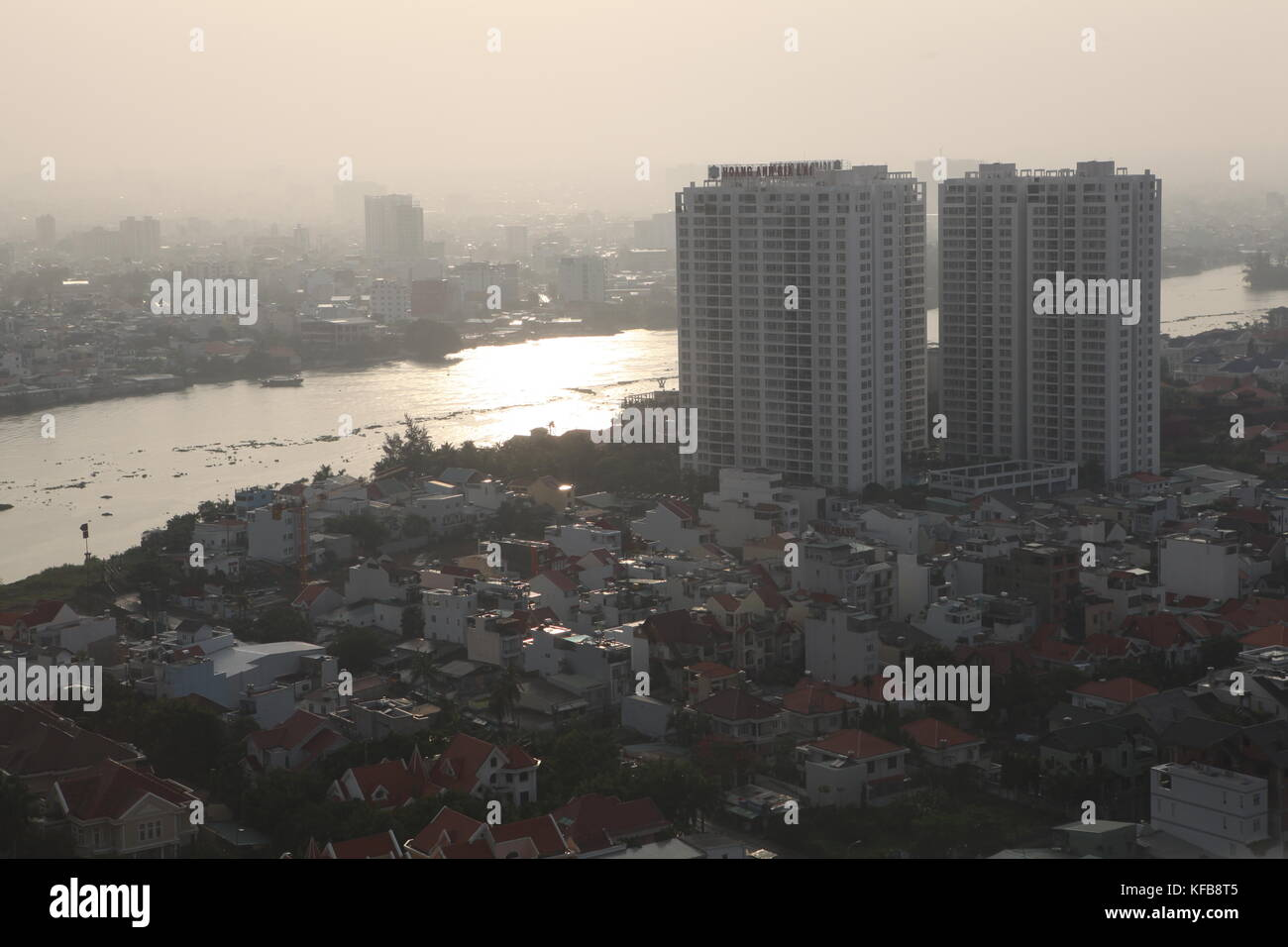 City skyline in Vietnam, The Saigon river, Ho Chi Minh City - Stock Image