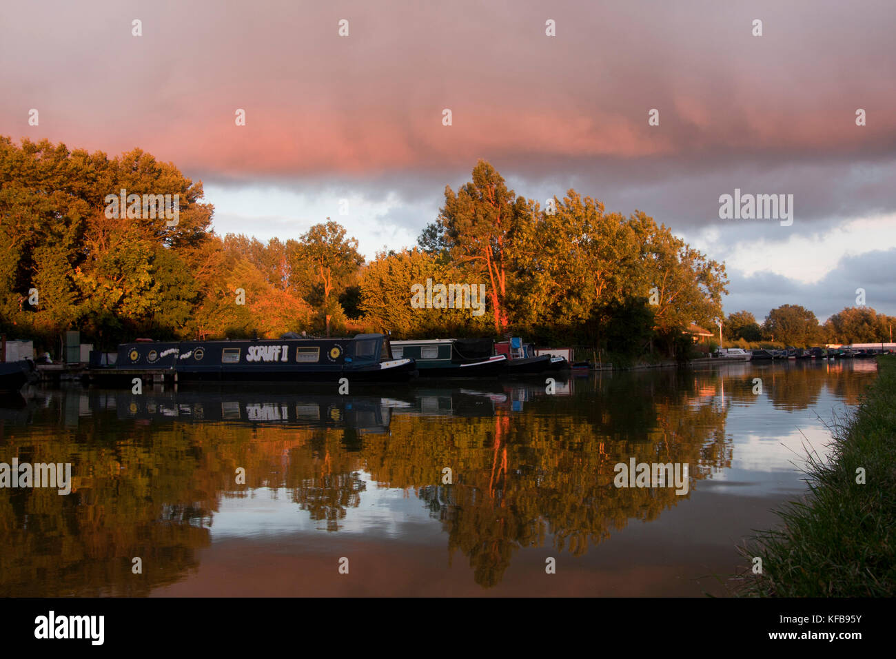 narrowboats moored at Sunset, Cooks Wharf, Grand Union Canal Outer Aylesbury Ring, Cheddington, Buckinghamshire, - Stock Image