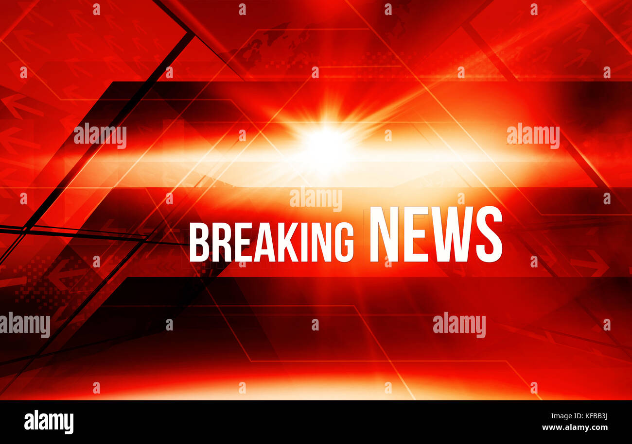 Graphical digital news background with arrows and breaking news text. 3d illustration Stock Photo