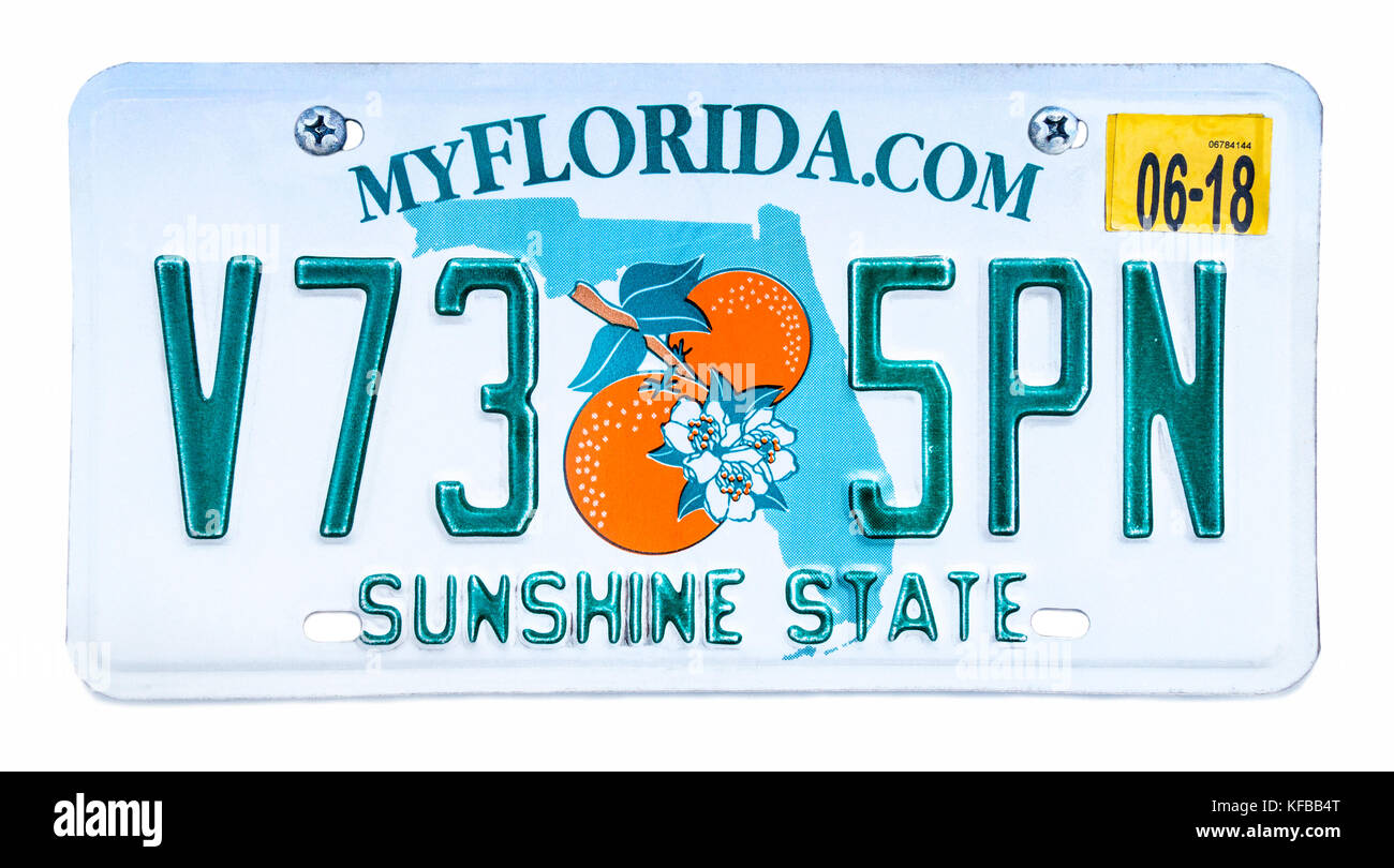Car License Plate Florida Usa Stock Photos Amp Car License