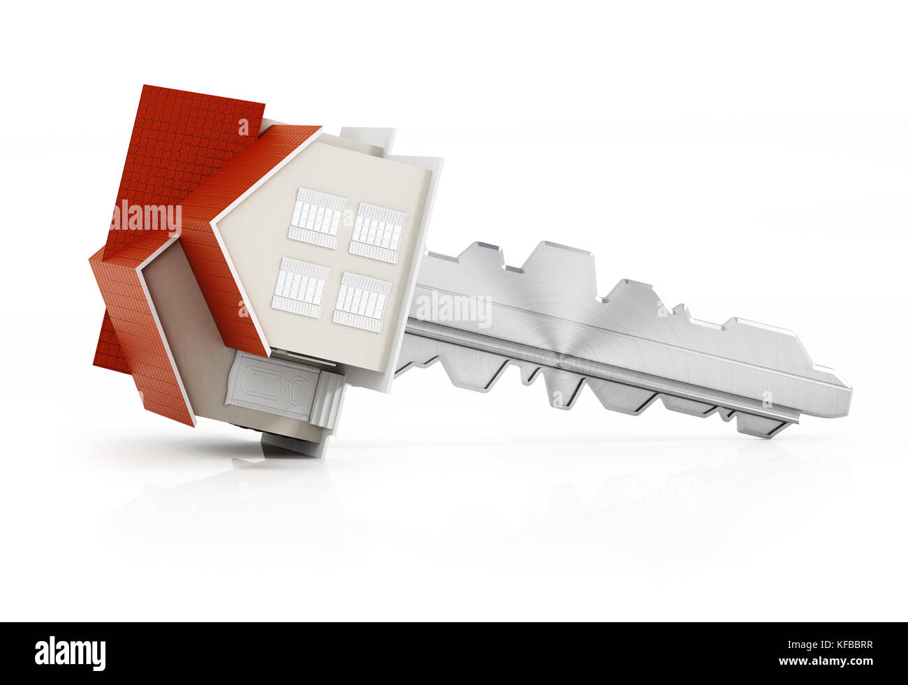 House model connected to the metal key. 3D illustration. - Stock Image