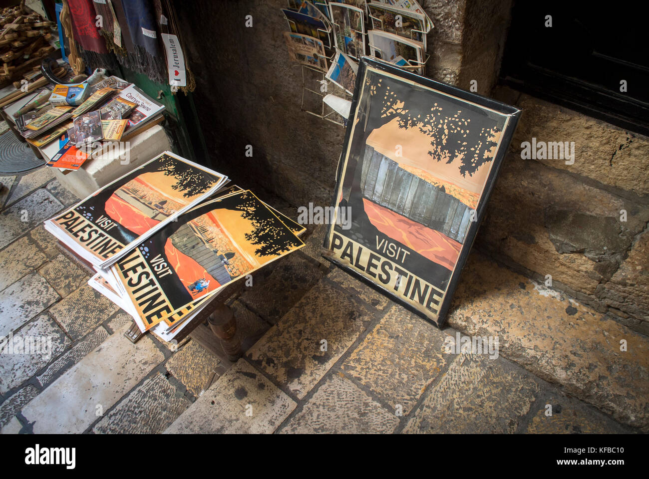 Posters of Palestine in the Muslim Quarter, Old City, Jerusalem. - Stock Image