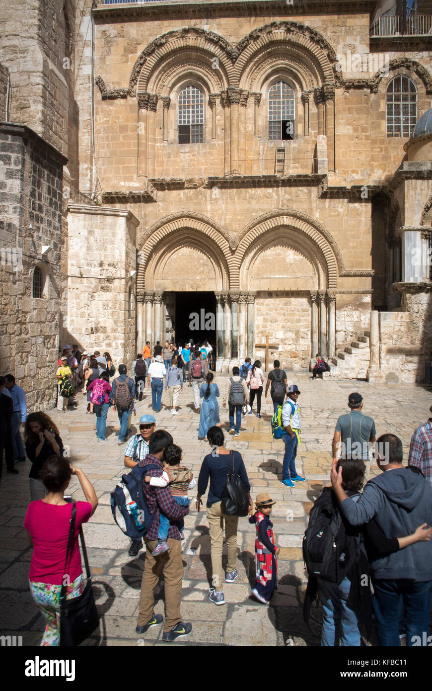 Entrance to The Church of the Holy Sepulchre, Old City, Jerusalem. - Stock Image