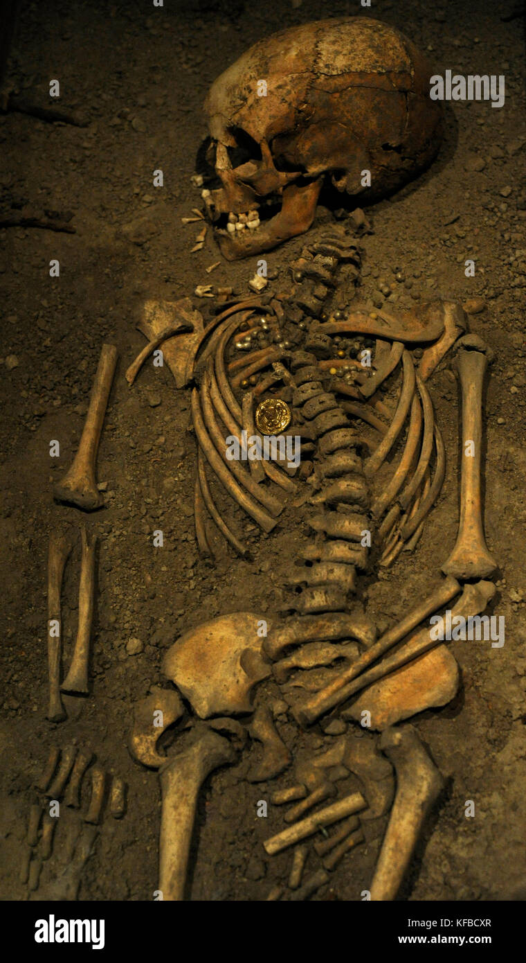 Viking Age. Birka girl. Died at age 6 years. 10th century. Skeleton. Historical Museum. Stockholm. Sweden. - Stock Image