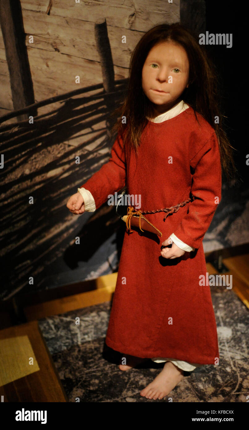 Viking Age. Birka girl. Died at the age 6 years. 10th century. Sculpture with the reproduction of its appearance. - Stock Image