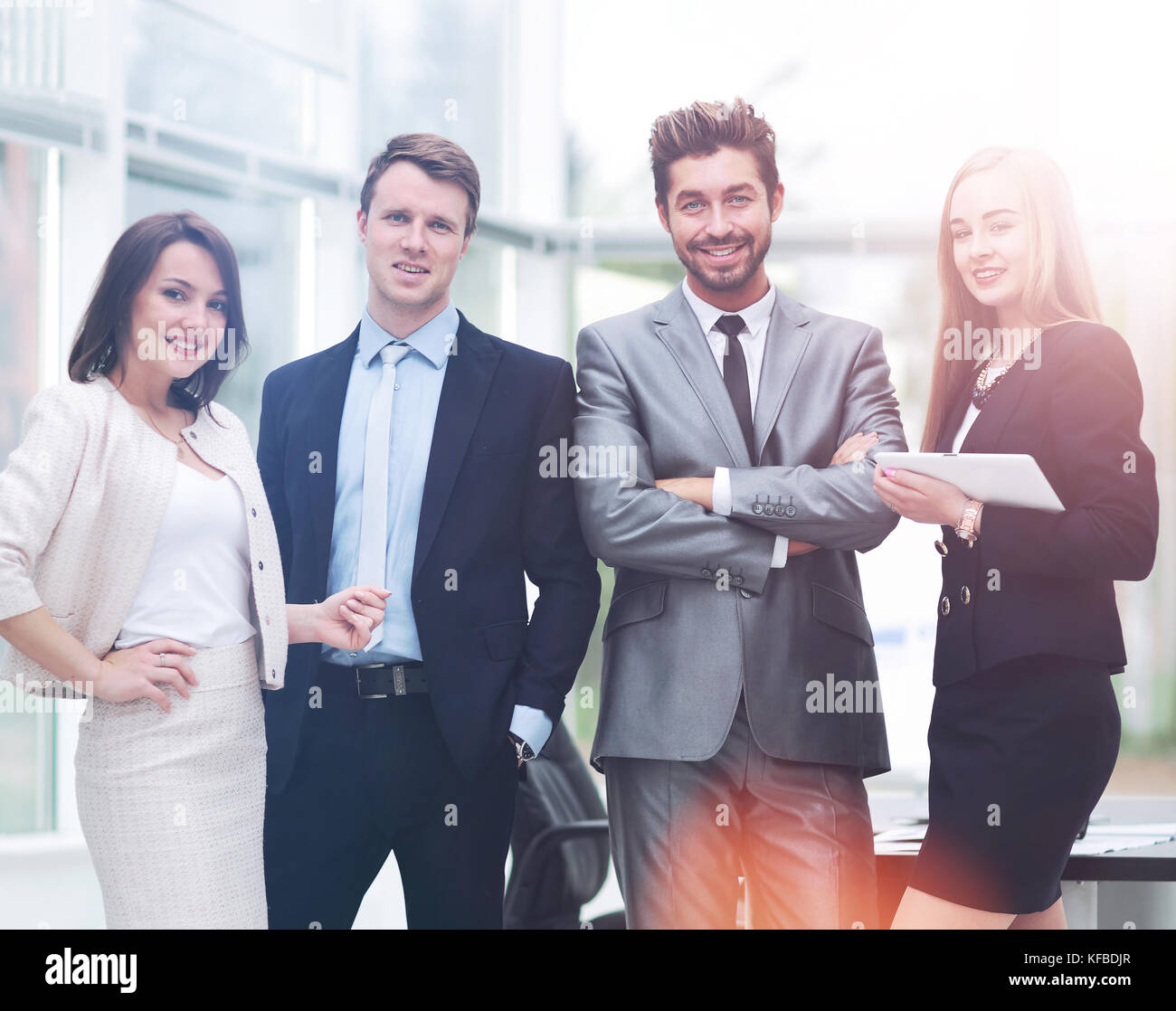 Young successful business woman waiting for job interview - Stock Image