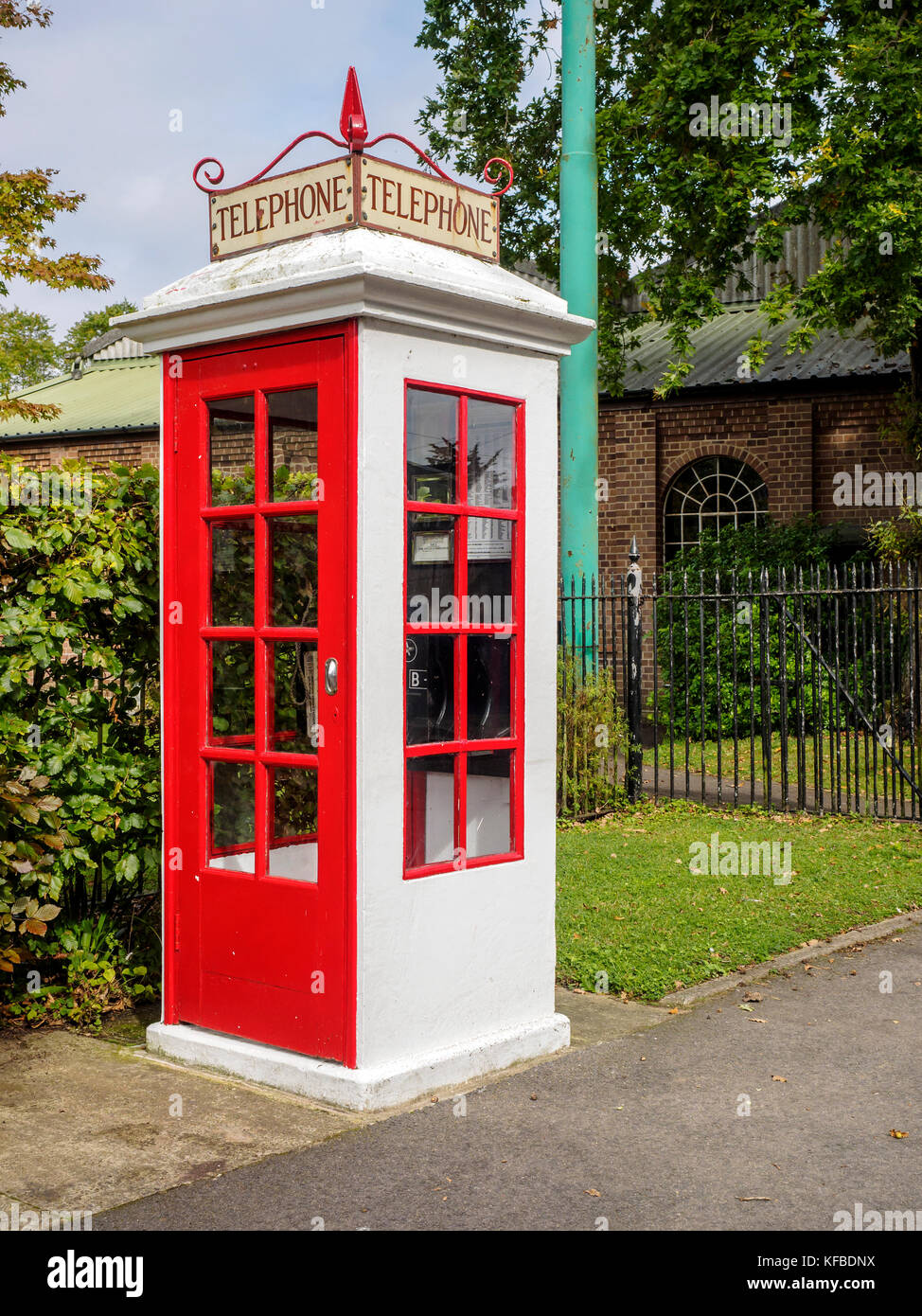 A  replica K1 Mk236 telephone box at the East Anglia Transport Museum. - Stock Image