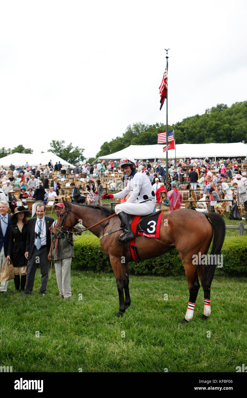 USA, Tennessee, Nashville, Iroquois Steeplechase, jockey Brian Crowley Arcadia have their photo taken after their - Stock Image