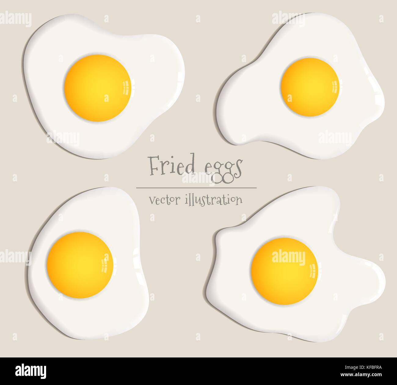Collection of four fried eggs vector illustration Stock Vector