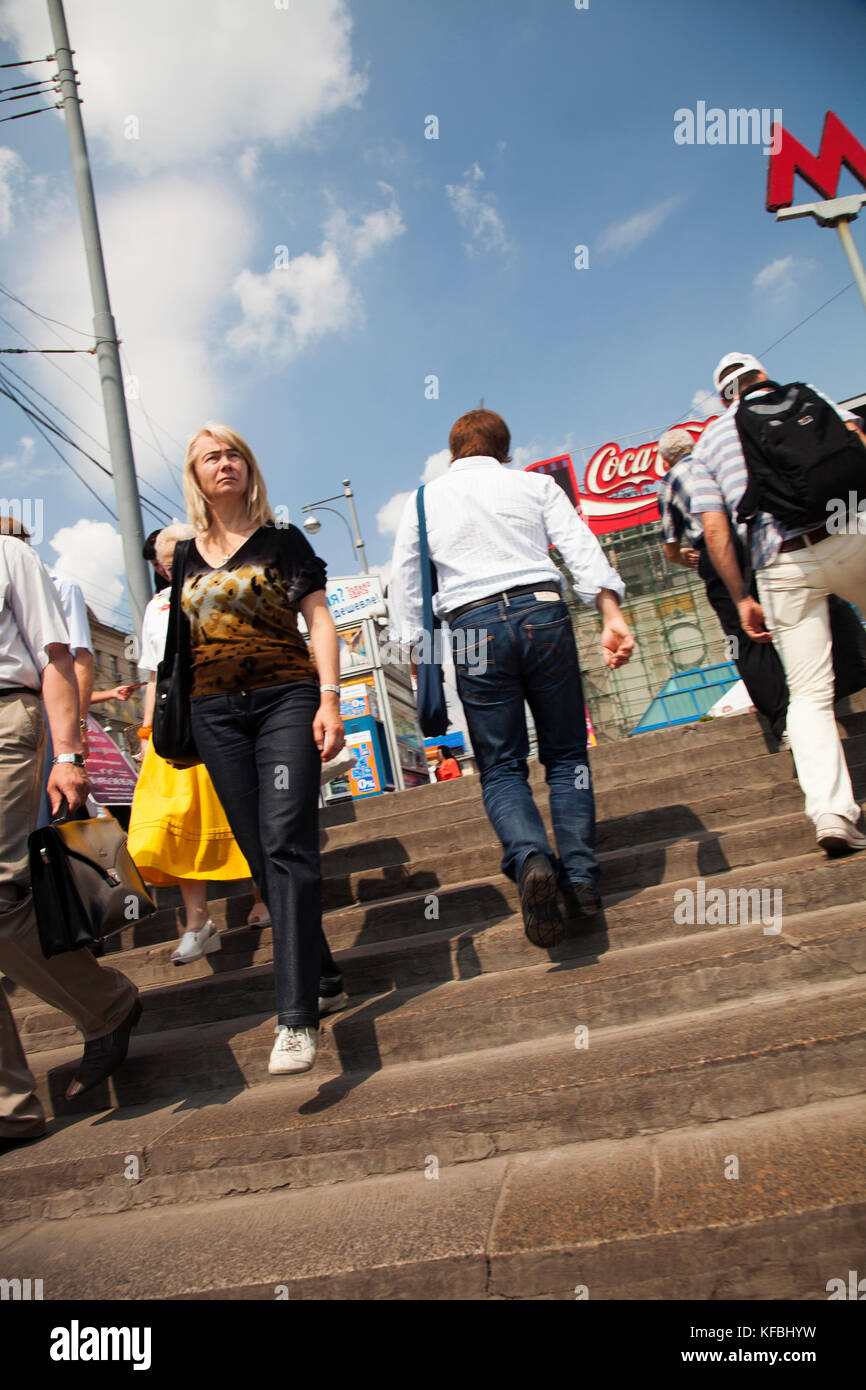 RUSSIA, Moscow. Crowd leaving and going into a Metro Station in the city center. Stock Photo
