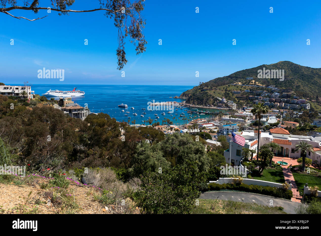 View over the boats anchored in Avalon Bay and the coastline on Santa Catalina Island California 2017 - Stock Image