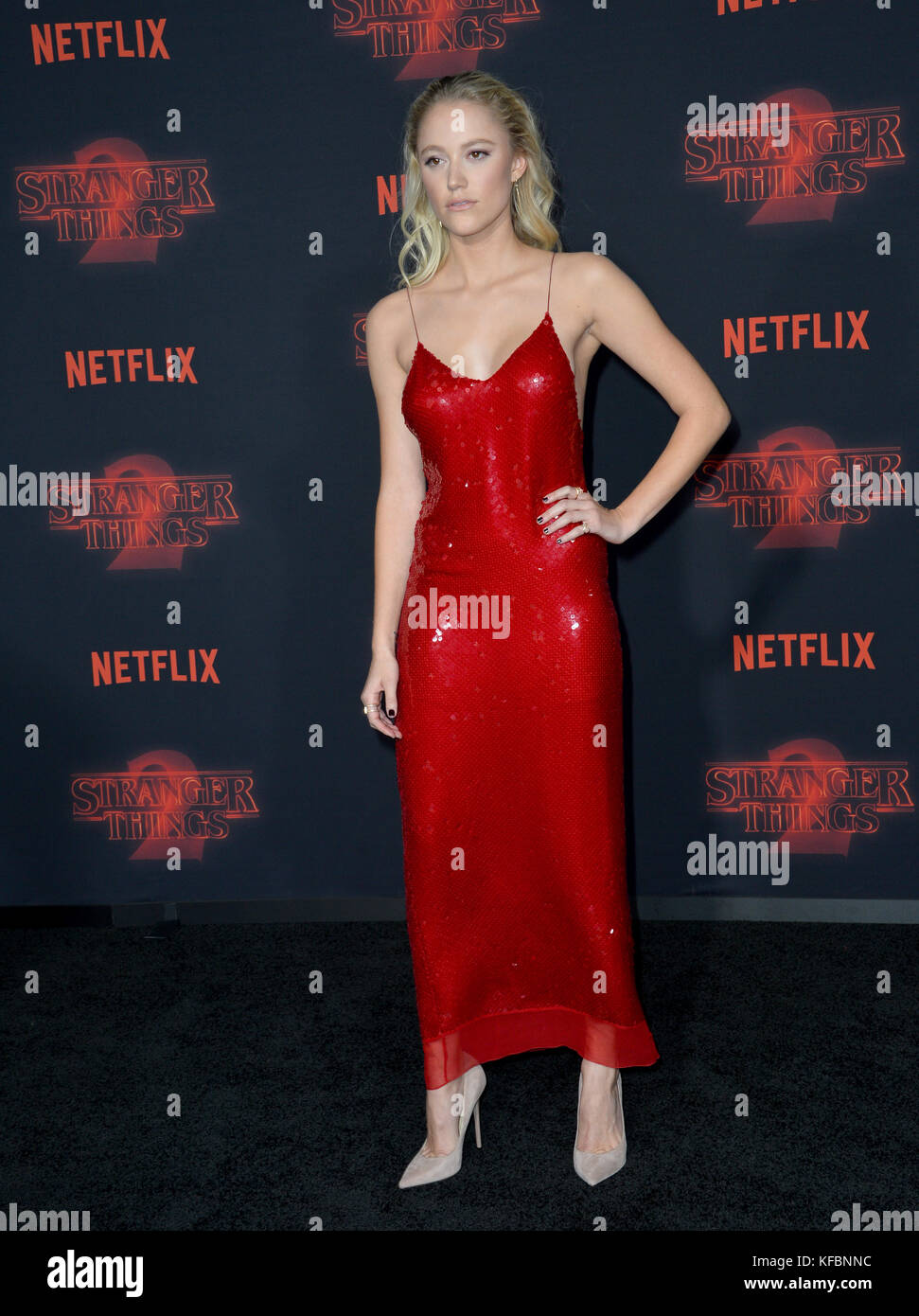 Los Angeles, USA. 26th Oct, 2017. Maika Monroe at the premiere for Netflix's 'Stranger Things 2' at - Stock Image