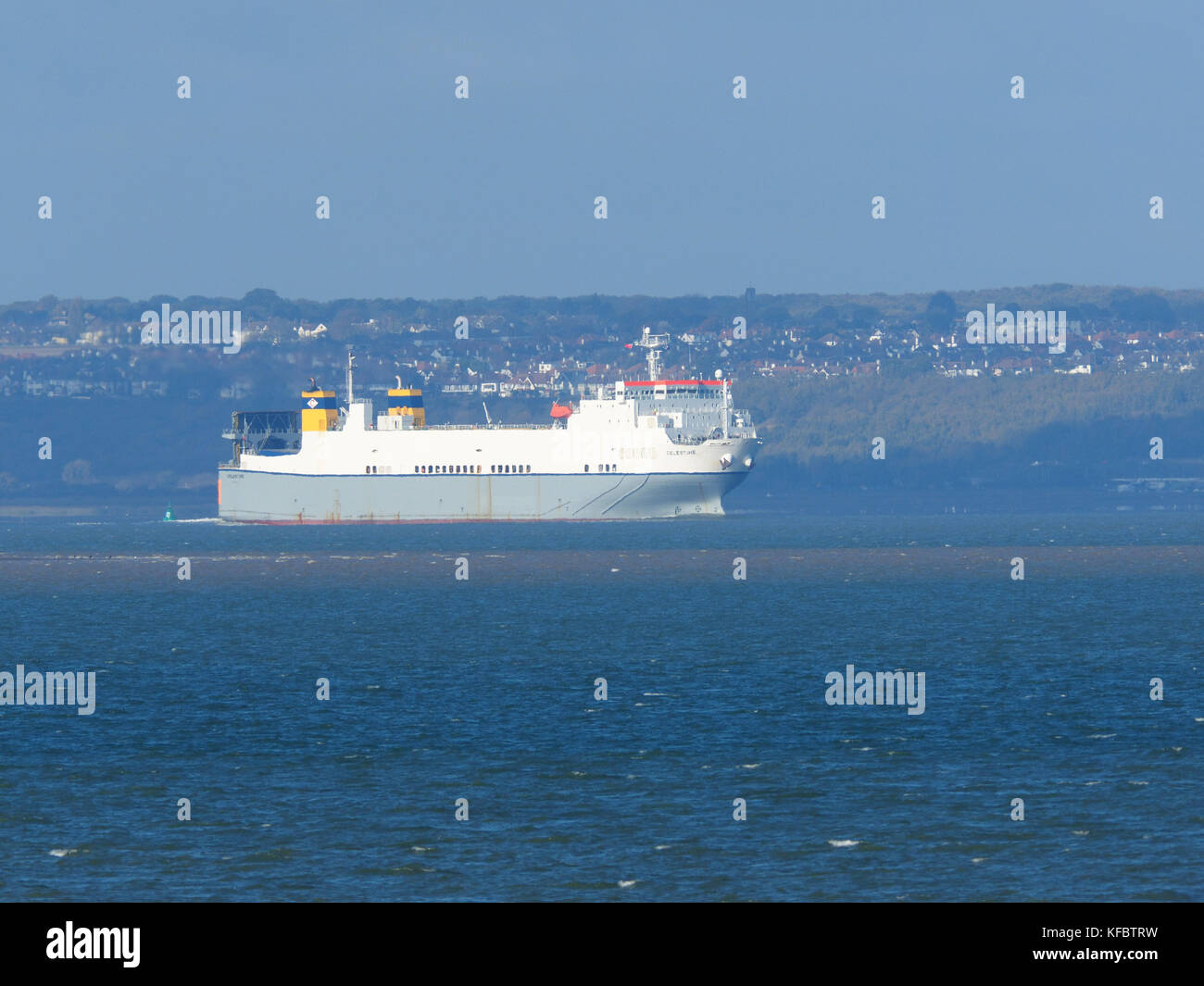 Sheerness, Kent, UK. 27th Oct, 2017. UK Weather: a sunny day in Sheerness. Ship Celestine sails out of the Thames. - Stock Image