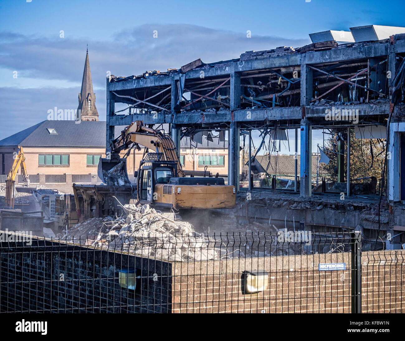 Bangor, County Down, Northern Ireland, UK 27th October 2017 Old sports complex being demolished Demolition contractors - Stock Image