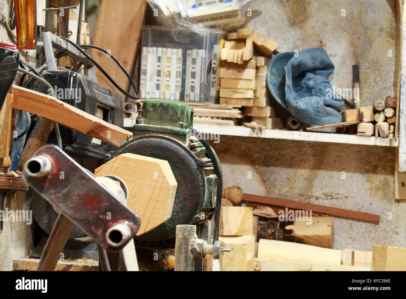 Woodworker lathe - Stock Image