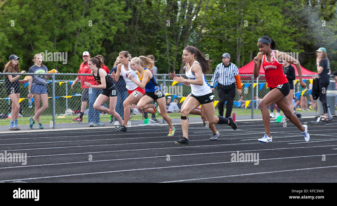 High school athletes compete in a track and field meet in Milwaukee, Wisconsin, USA - Stock Image