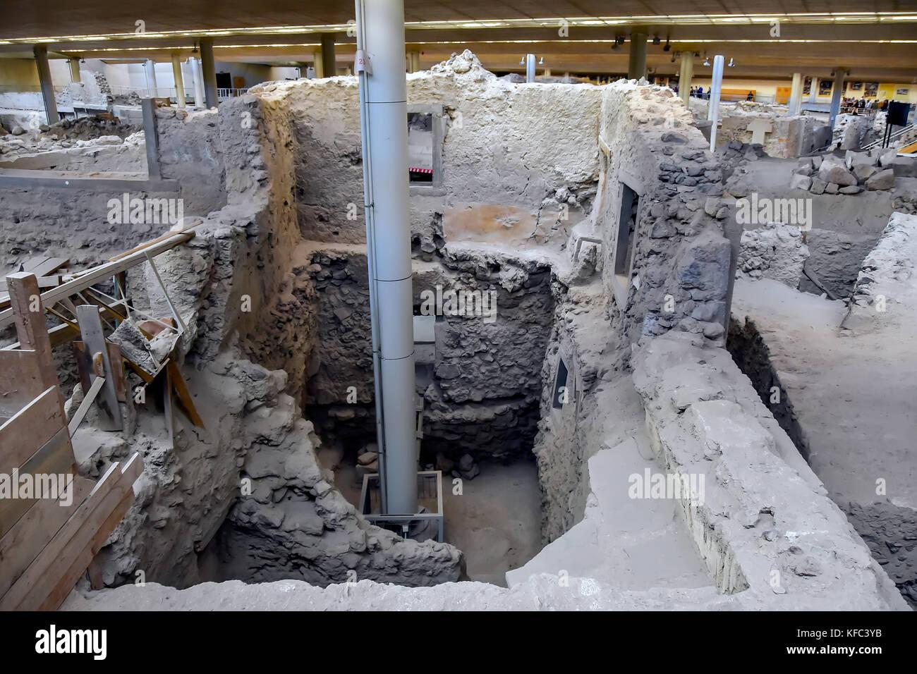 Akrotiri Minoan archaeolgical site showing multi-story building  at Santorini, Cyclades, Aegean Sea, Greece.dews - Stock Image