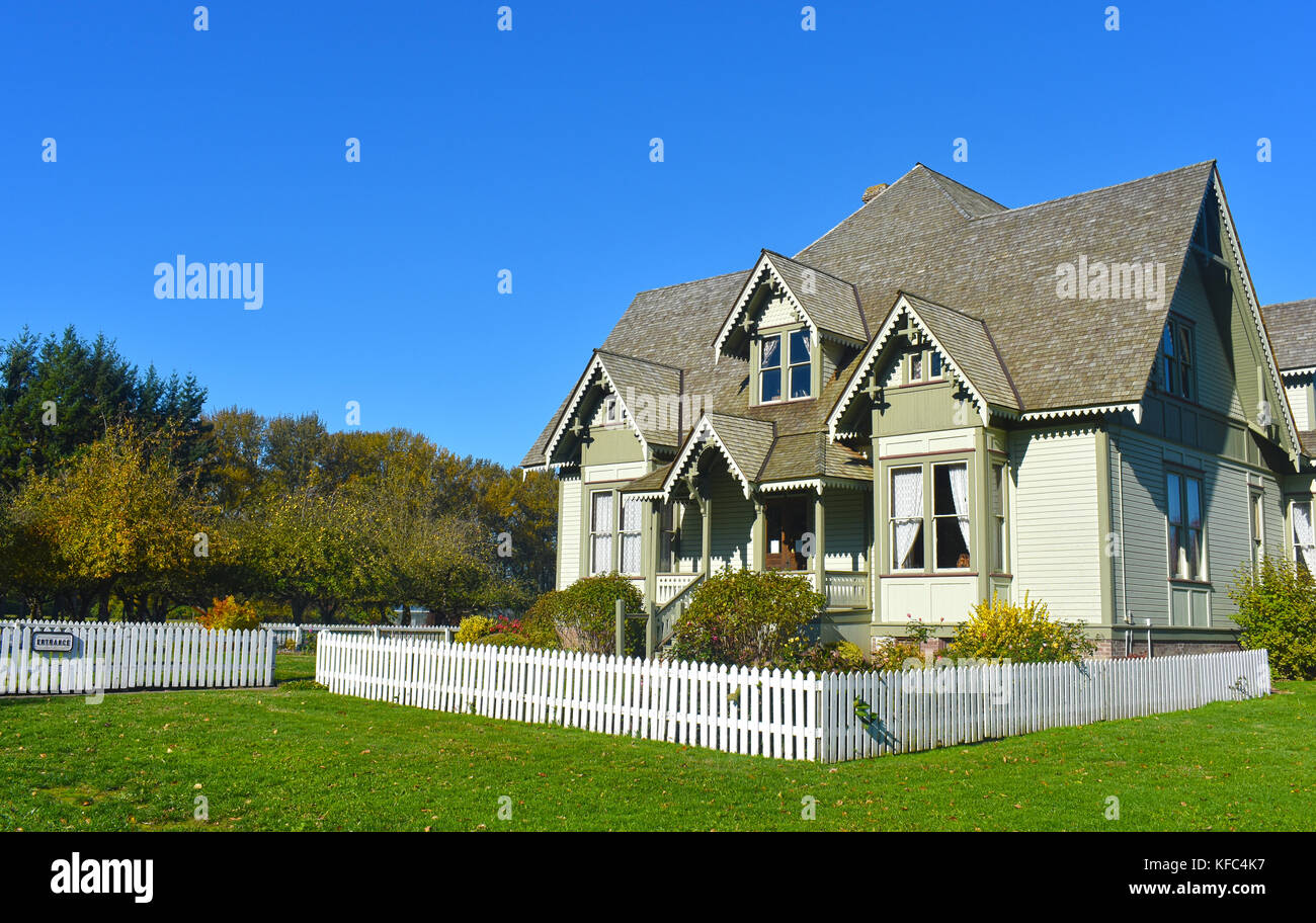 Victorian Historical Home at Hovander Homestead Park in Ferndale, Washington.  A tourist destination in Whatcom - Stock Image