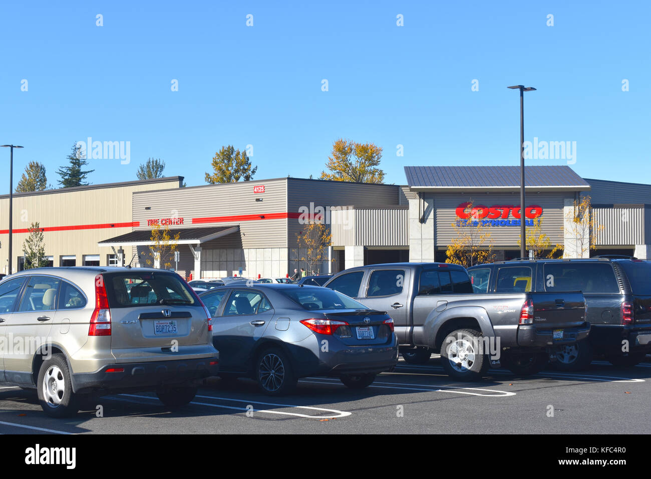 Parking lot at Costco located in Bellingham, Washington.  Editorial usage only. - Stock Image