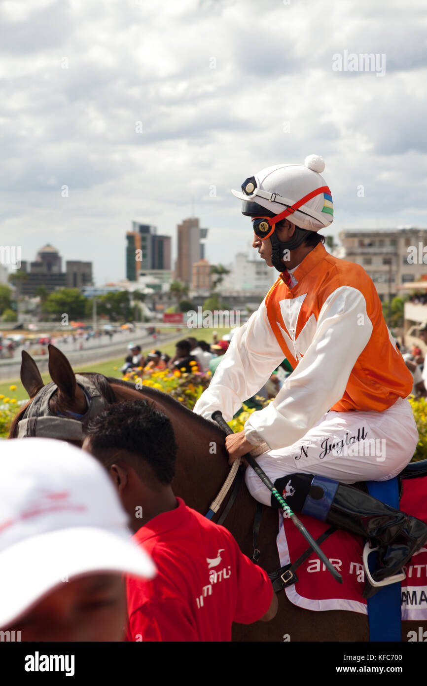 MAURITIUS; Port Louis; an international horse race draws thousands at Champ de Mars Race Cource; International Jockey Stock Photo