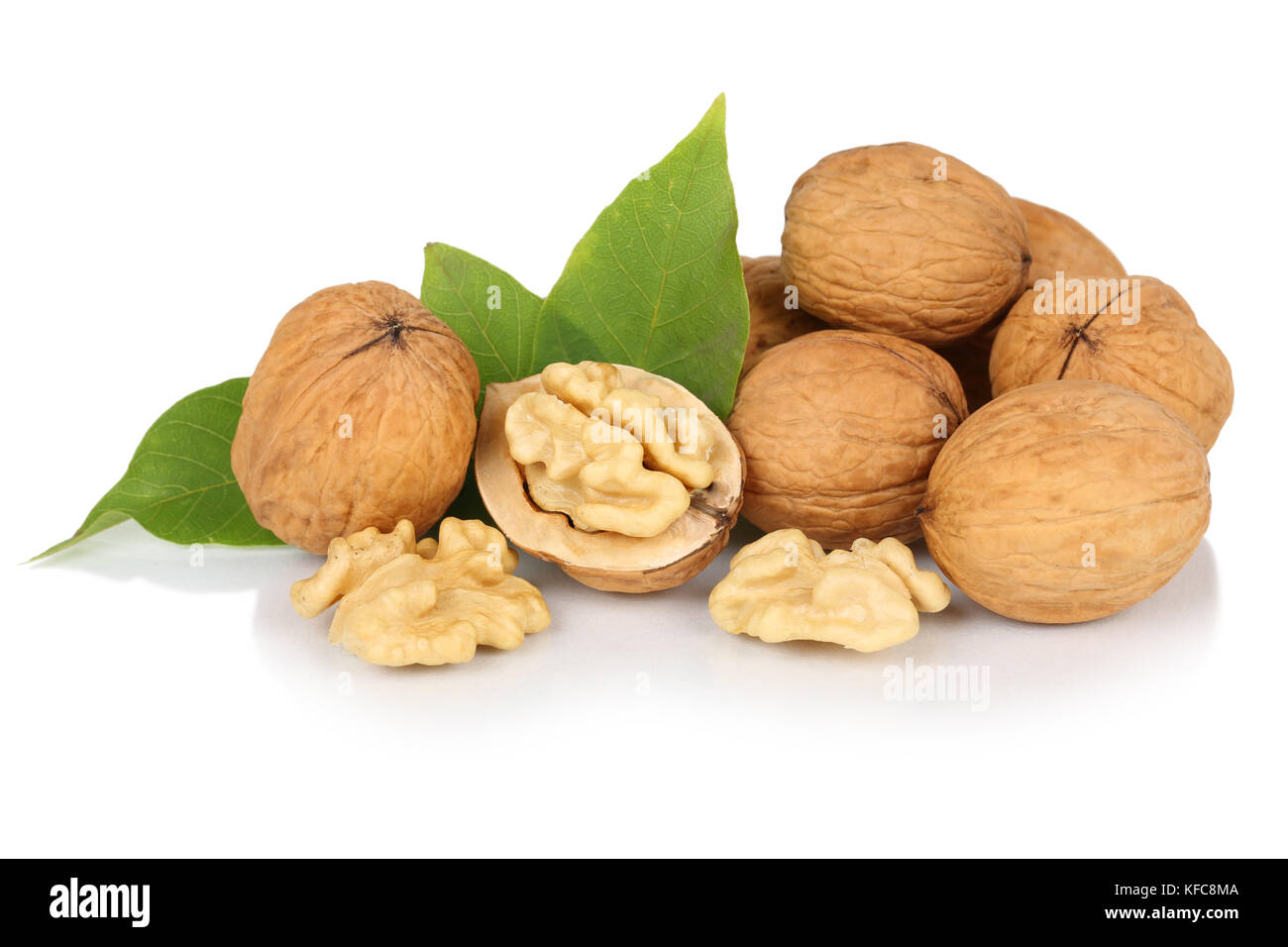 Walnuts walnut fresh nuts nut nutshell isolated on a white