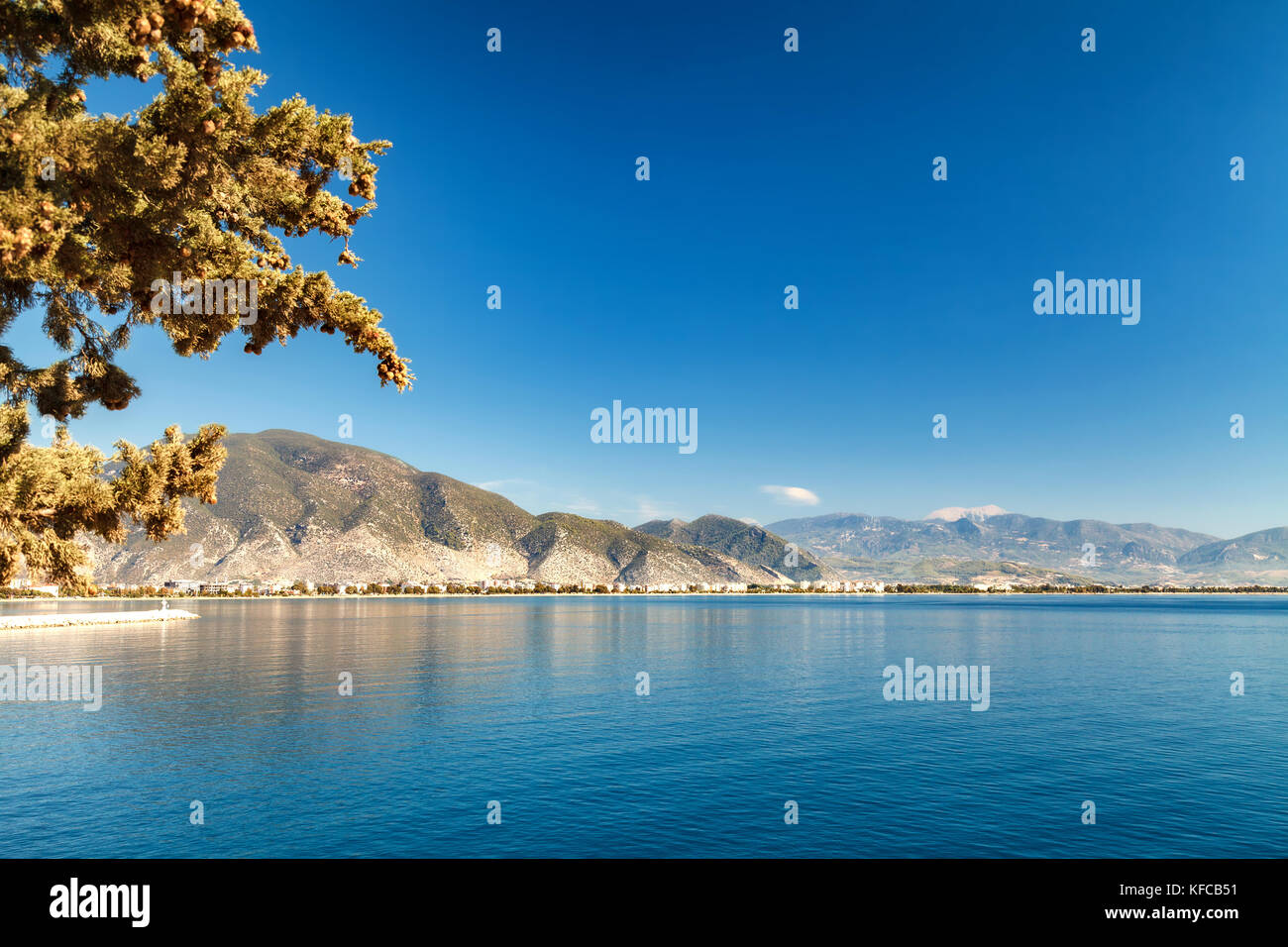 Gulf in the Mediterranean Sea. Mountain ranges in Kemer. Beautiful view of the beach - Stock Image