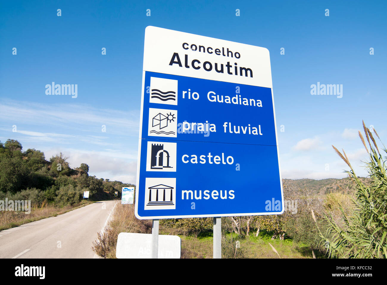 Street signal at rural road leading to Alcoutim indicating the local attractions - Stock Image