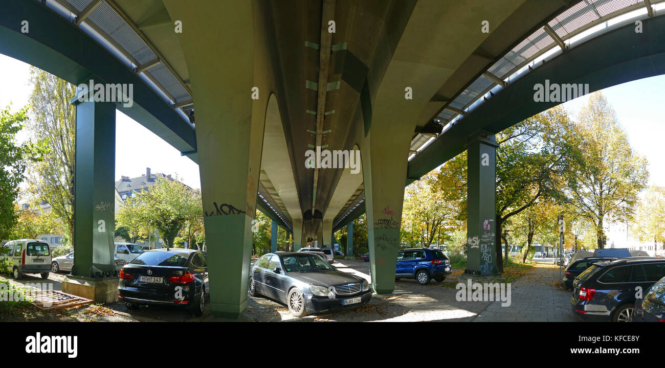 Car park under a Train bridge Munich germany Europe - Stock Image