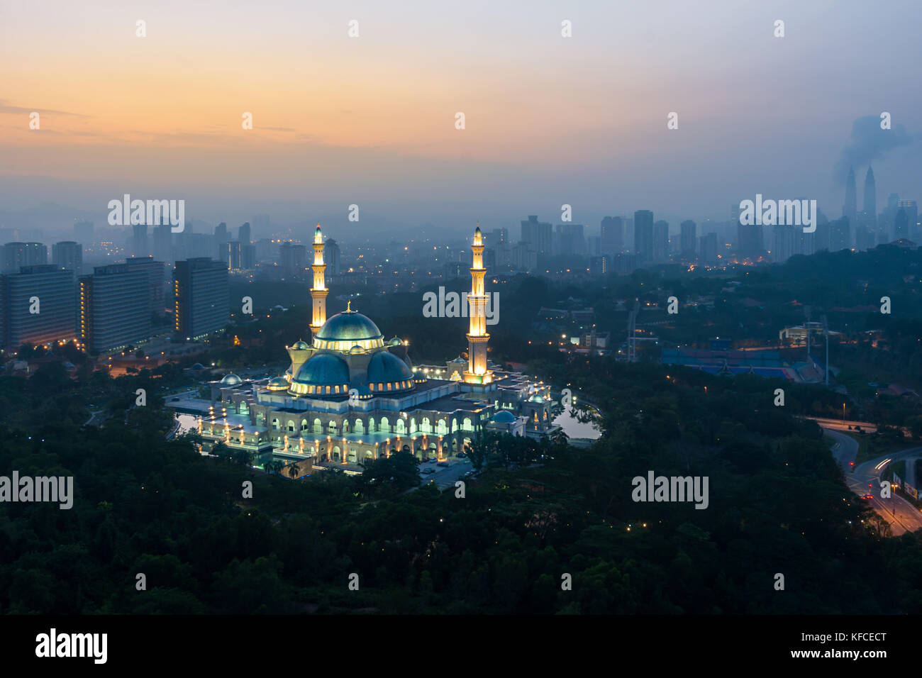 Aerial view of Federal Territory Mosque during sunrise. Federal Territory Mosque is a major mosque in Kuala Lumpur, - Stock Image