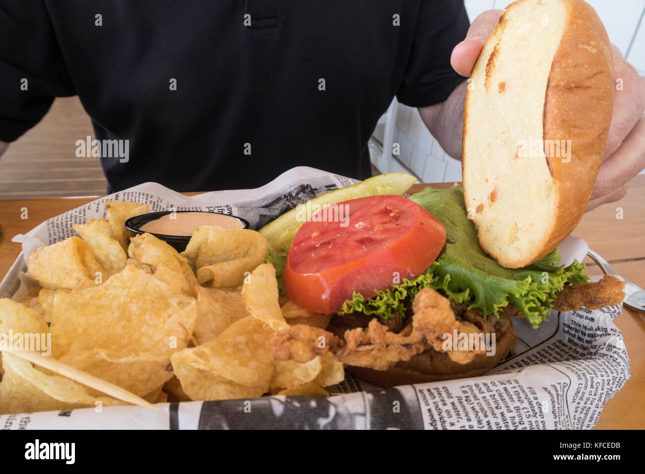 Soft Shell Crab Sandwich,The Claw House Restaurant, Murrells Inlet, SC, USA - Stock Image