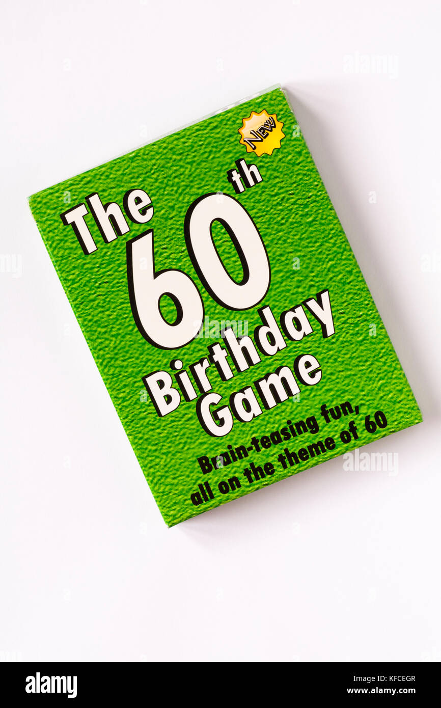 The 60th Birthday Game - Brain-teasing fun all on the theme of 60 isolated on white background - Stock Image