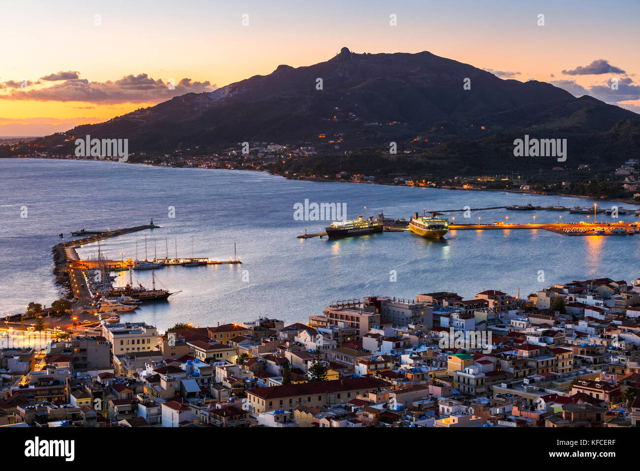 Harbor of Zakynthos town as seen from Bochali view point, Greece. - Stock Image