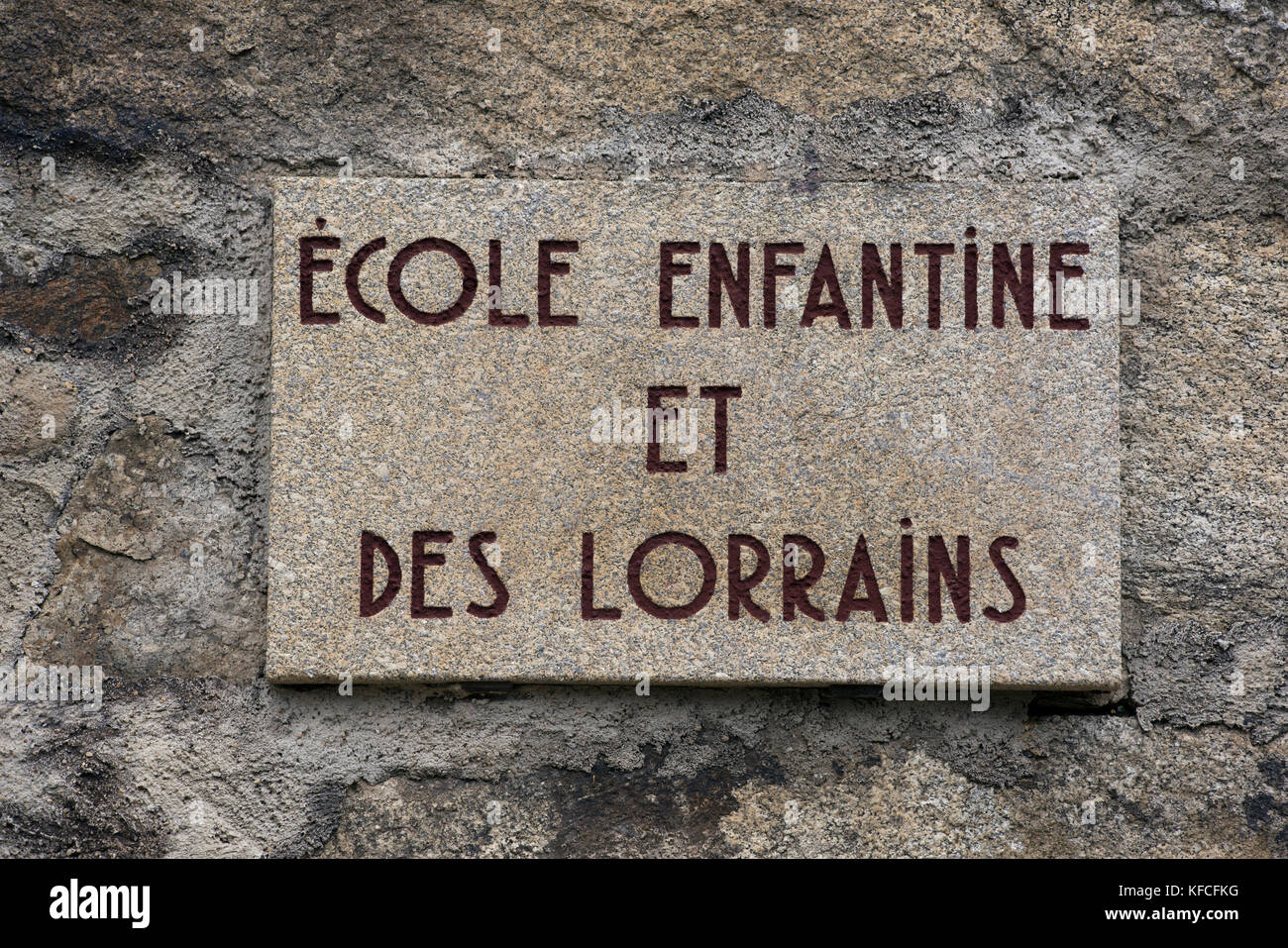 Plaque in the ruins of Oradour sur Glane in the Haute Vienne departement of France. This is the site of a Nazi massacre - Stock Image