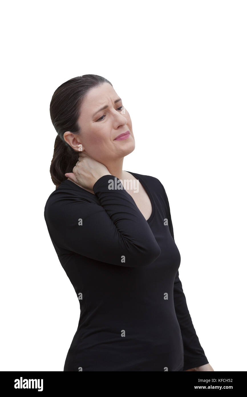 Middle aged woman with chronic pain syndrome fibromyalgia suffering from acute neckache, isolated on white background Stock Photo