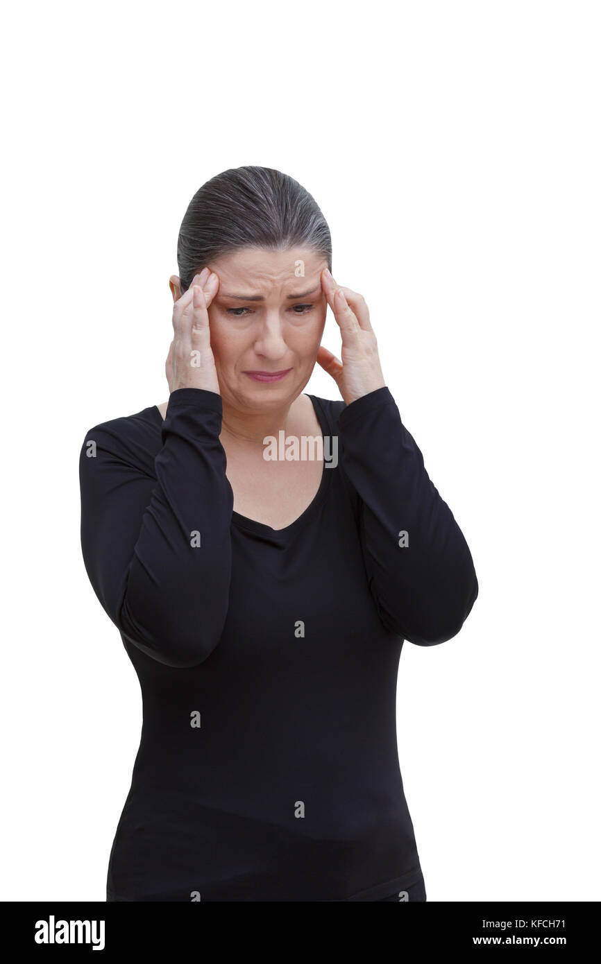Middle aged woman with chronic pain syndrome fibromyalgia suffering from acute headache, isolated on white background Stock Photo